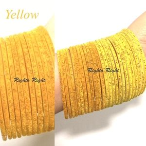 Velvet Glitter Glass Bangles Colorful Yellow